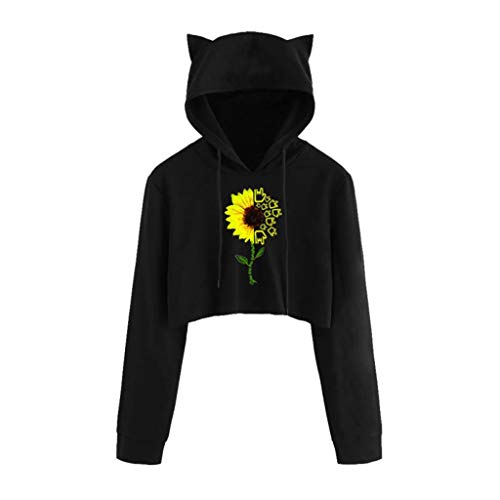 Sudaderas con capucha para mujer y adolescente con orejas de gato, estampado gráfico de girasol, manga larga, camisetas inspiradoras