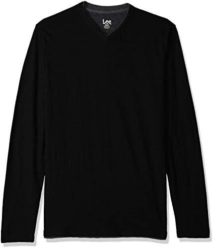 Lee Herren Tipping Long Sleeve Vneck Neck Shirt Hemd, Herman Schwarz, X-Groß