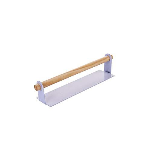 HMSCC Organizador de la cocina de montaje en pared de madera de toallas de baño estante titular de rollo de papel de trapo de almacenamiento de titular de toalla de gabinete en rack de trapo Holder