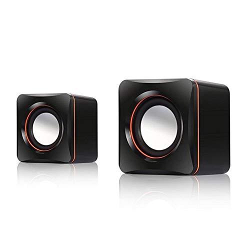 XIJUGE Tragbare Computer-Lautsprecher 2 PC-USB-Energien-PC-Lautsprecher Stereo 3,5 mm for PC, Laptop, Mini Wired Bass-Sound-Lautsprecher (Color : Black)