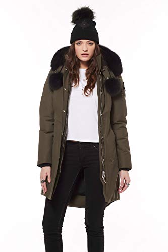 Moose Knuckles Women's Stirling Down Parka/ Winter Jacket with Genuine Fox Fur Trim, Army/Black Fur, Small