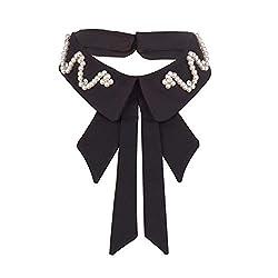 Black Fake Collar Detachable Lapel Rhinestone Crystal Pearl
