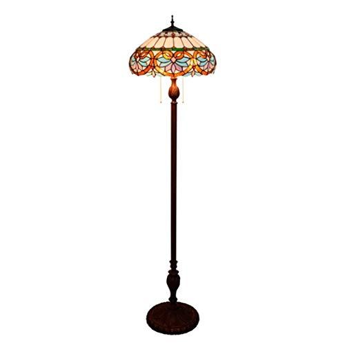 ZHANGDA Lámpara de pie de Lectura barroca Estilo Tiffany con vitrales y Pantalla de 16 Pulgadas Hecha a Mano para Sala de Estar, Dormitorio, 64 Pulgadas de Alto (B)