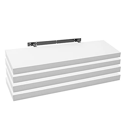 WOLTU RG9318ws-4 4X Wandregal Wandboard Bücherregal Regale für Deko Wandablagen aus MDF Holz, 4er Set Hängeregal Weiss, 80x23x3,8cm