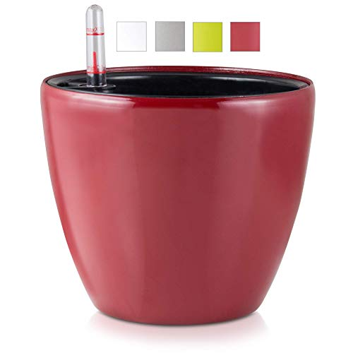 Hypercraft Self Watering Pots for Indoor Plants – 7' Flower Pot Indoor Plant Pots - High Gloss Planters with Water Level Indicator (Red)