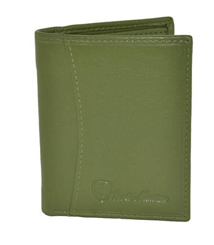 Conte Massimo, tarjetero, tarjetero en cuero azul eléctrico real para hombre y mujer, con bolsillo para billetes, pequeño y delgado, mini cartera Verde -