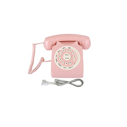 UTDKLPBXAQ Teléfono Retro de plástico clásico Vintage teléfono con Cable teléfono Fijo con Cable Retro Cable teléfono Fijo Rosa Estilo Vintage casa teléfono para el hogar Oficina Hotel