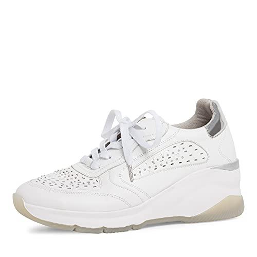 Tamaris Damen Sneaker, Frauen Low-Top Sneaker,Turnschuhe,Laufschuhe,schnürschuhe,schnürer,keil,Sneaker,Wedge,Keilabsatz,White Leather,41 EU / 7.5 UK