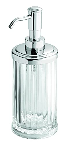 iDesign Alston Refillable Soap/Lotion Dispenser, Made of Plastic, Clear/Silver