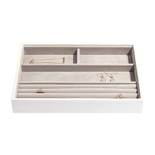 Carters of London Schmuckkästchen, für Ringe und Armbänder, mit gepunkteter grauer Auskleidung, Weiß