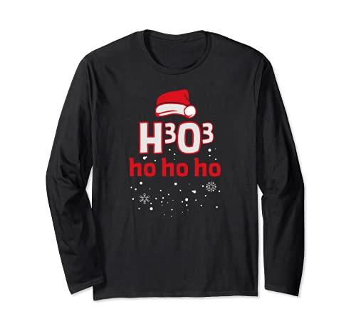 Natale H3O3 Ho Ho Ho Ho Chimica Nerd Maglia a Manica
