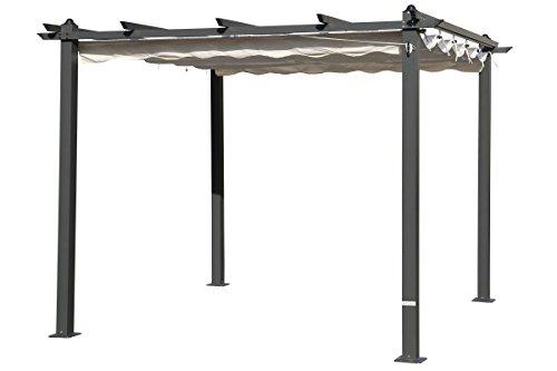 OUTFLEXX hochwertige Pergola aus solidem, grauem Aluminium, Dachrohre aus Stahl, Dach aus cremefarbenem Textil, inkl. Abdeckung, ca. 300 x 300 x 255 cm, Schiebedach, modernes Design, wetterfest,