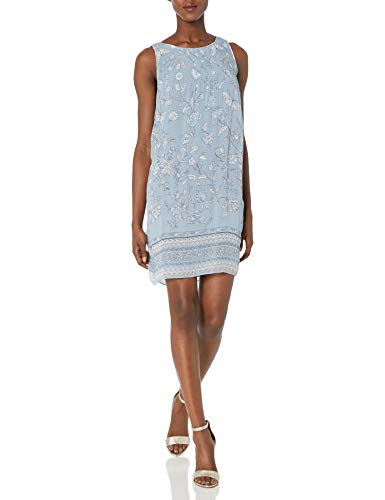 Max Studio Women's Printed Pleated Dress, Soft Blue/Ivory Cascading Spring PNL, Small