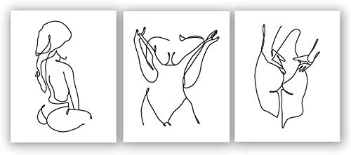 """Nordic Fashion Female Line Modern Minimalist Art Painting,Set of 3 (8""""X10"""" Canvas Picture),Wall Art Pictures for Bathroom or Bedroom Home Decor,Women Girl Gift,No Frame"""