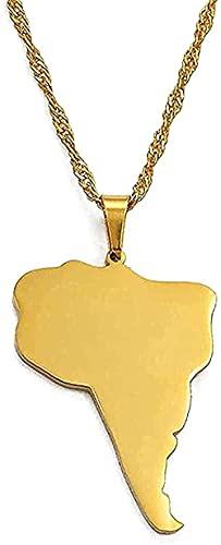 LBBYLFFF Collar Sudamérica Collar Continente Papel Collares Pendientes Color Oro Joyería Regalo Sudamera/America DO On Map Gifts