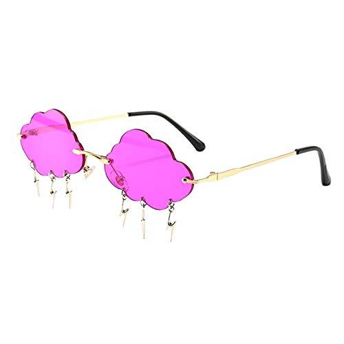 FITYLE Gafas de Sol Vintage sin Montura Moda Mujer Irregular Nubes relámpago Borla Gafas de Sol Boda cumpleaños Fiesta Gafas - Púrpura