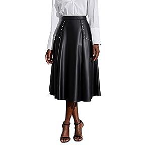 High Waisted Leather Midi Skirt Flared Skirt 6