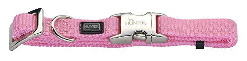 HUNTER VARIO BASIC ALU-STRONG Halsung, Hundehalsband, Nylon, Aluminium Steckverschluss, M, rosa
