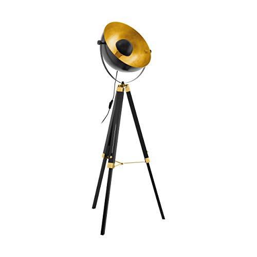 EGLO Stehlampe Covaleda, 1 flammige Stehleuchte Industrial, Vintage, Standleuchte aus Holz und Stahl, Wohnzimmerlampe in Schwarz, Gold und Messing, Lampe mit Schalter, E27 Fassung