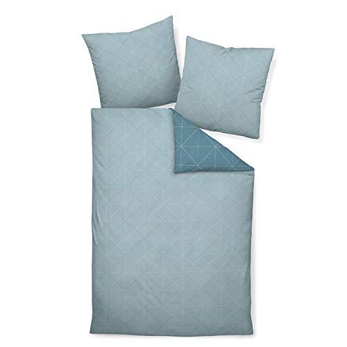 Janine Design Mako-Soft-Seersucker Bettwäsche Tango 20056 Aqua 1 Bettbezug 135x200 cm + 1 Kissenbezug 80x80 cm