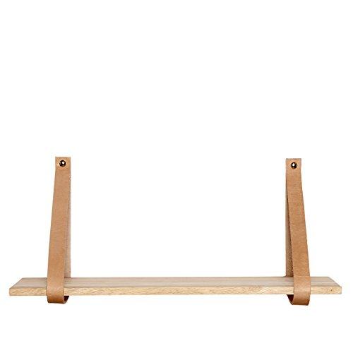 HÜBSCH - Holzwandregal mit Lederband Hübsch 100 cm