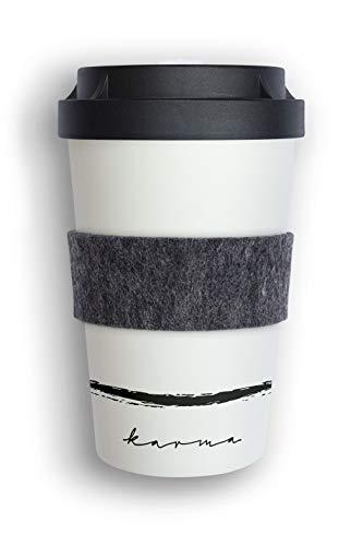 heybico Coffee to go Becher Made in Germany mit Filz-Manschette | Frei von Melamin & ohne Bambusfasern | Biologisch abbaubar & kompostierbar (Karma)