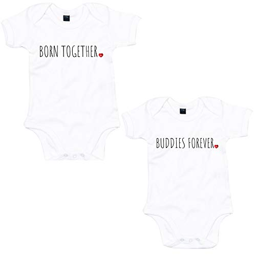 Lo Key Clothing Born Together & Buddies Forever Babygrow Set Twins Baby Annonce - Blanc - 6 Mois
