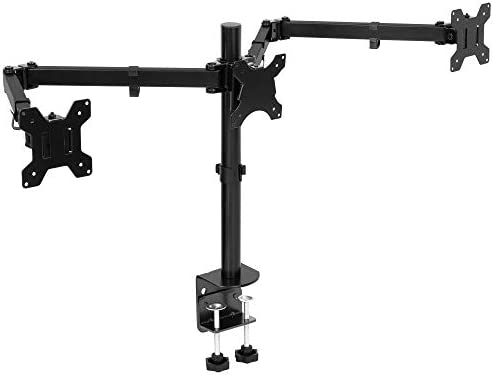 Mount It Triple Monitor Mount 3 Computer Screen Desk Stand with Clamp and Grommet Base Fits product image