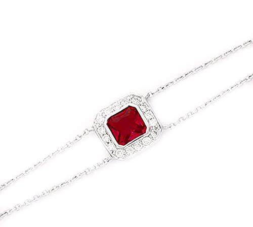 Tata Gisèle © Bracelet en Argent 925/000 Rhodié, Oxyde de Zirconium et Cristal Verre Couleur Rouge Rubis - Forme Carré - Sachet Velours Offert
