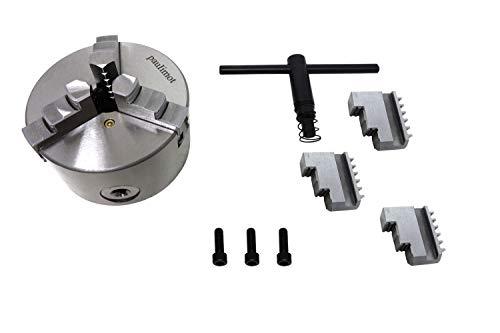 PAULIMOT 3-Backen-Futter für Drehbank, 80 mm mit 3-Loch-Aufnahme