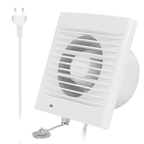 Ventilador extractor 76 CFM, extractor de ventilación con válvula antirretorno antirretorno, interruptor de cadena, para ventana y montaje en pared, para cocina, baño, invernadero, garaje, 4 pulgadas
