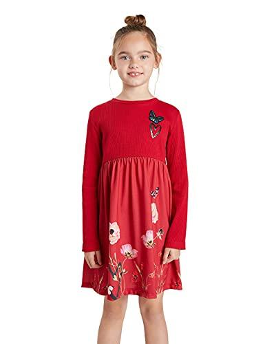 Desigual Vest_Ariadna Vestido Casual, Rojo, 3-4 Años para Niñas
