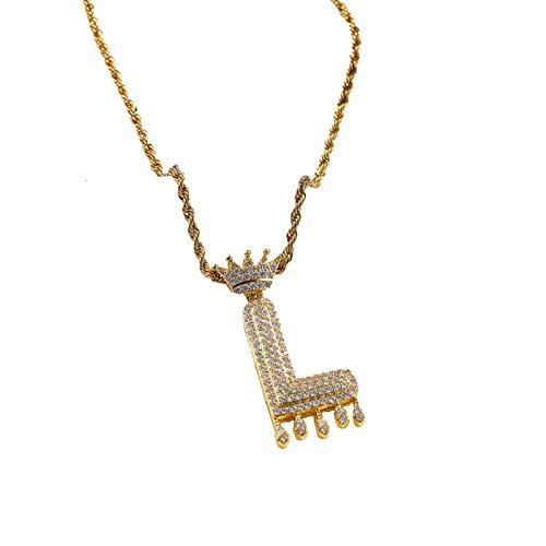 XPT Collar de mujer atractivo estilo hip-pop dorado 26 letra inglesa forma colgante collar para el día de la madre San Valentín regalo de cumpleaños L
