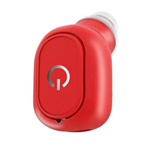 Wsaman Auriculares Bluetooth Prueba de Sudor Earbuds en la Oreja Auricular Reducción de Ruido Deportivos, Manos Libres Bluetooth Auricular,para Durante Negocios/Oficina/Conducción,Rojo