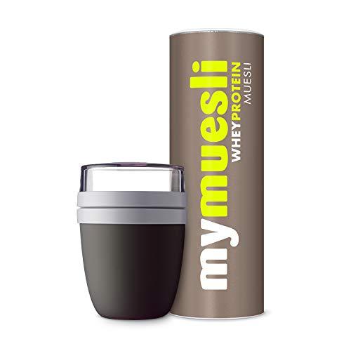 mymuesli 2Go Müslibecher Probierpaket – 2Go Becher schwarz (300 ml & 500 ml) & mymuesli Whey Protein Bio-Müsli (575g) – Hergestellt in Deutschland aus 100% Bio-Zutaten