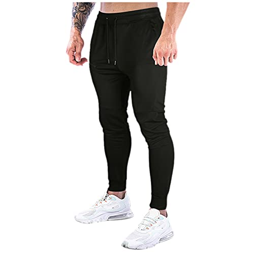 CHUXI 2021 Mens Algodón Confort Cordón Sweatpansts Ocio Slim Fit Stretch Yoga Pantalones Joggers Pantalones Deportivos, #16negro, 27-32