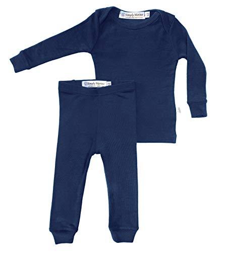 Merino Wool Kids Blue Pajama Set. Thermal Underwear Base Layer PJ Unisex Size 3T