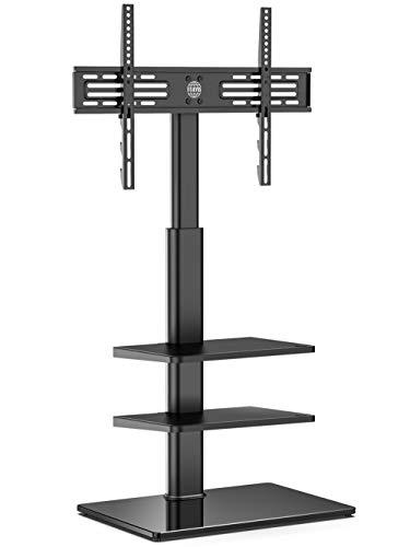 FITUEYES Soporte TV Suelo de 32 a 60 Pulgadas con 3 Estantes Soporte Giratorio TV Plana Curva Altura Ajustable Gestión de Cables MAX VESA 600 x 400 mm