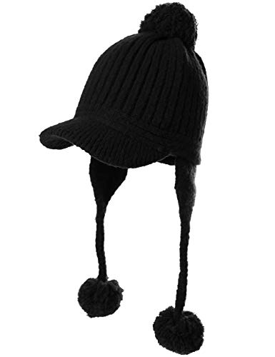 Peruvian Beanie Ear Flaps Hat Pom Visor Knit Newsboy Winter Hunting Snow Hat Cold Weather Ladies Black