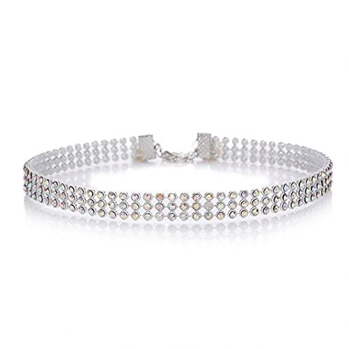 GoodLuck Gargantilla de Diamantes de imitación de Cristal, Accesorios de Boda para Mujer, Cadena de Color Plateado, gargantillas góticas Punk, joyería