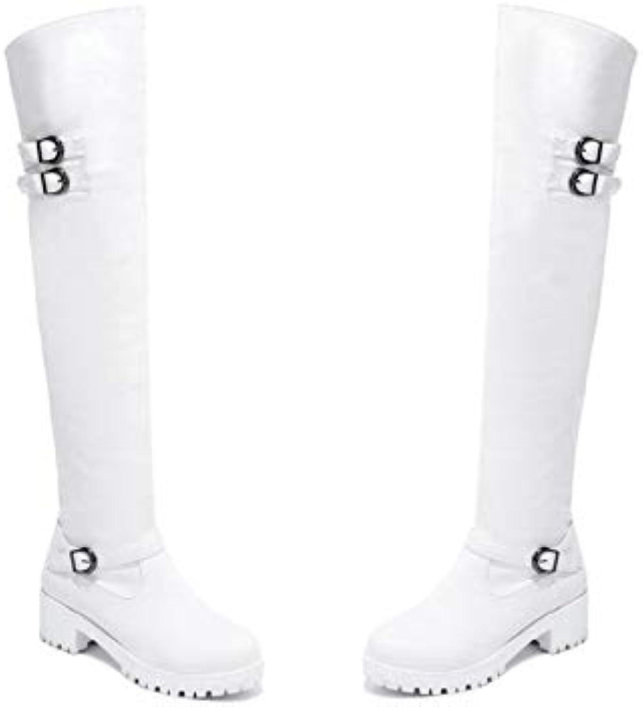 HOESCZS 2019 Frauen über über über Die Kniehohe Stiefel Fashion Square High Heel Round Toe Pu-Leder Westrn Stil Frauen Stiefel Größe 34-43 37f