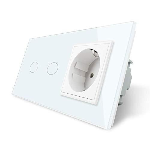 LIVOLO Touch Serienschalter und Steckdose mit Glasrahmen VL-C702/C7C1EU-11-A Weiß