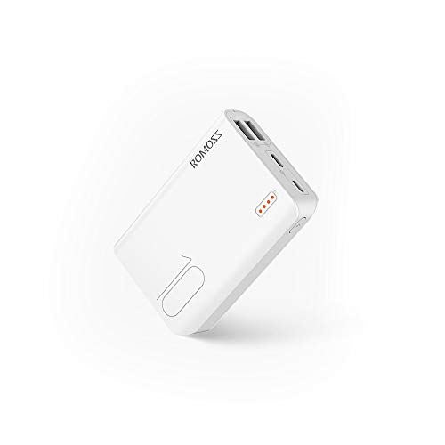 ROMOSS 10000mAh Portable Charger, Sense 4 Mini Power Bank with Dual Output, Small Size External Battery Pack Compact Slim Thin for iPhone 11/11 Pro / 11 Pro Max/XS/X, Samsung & More, White