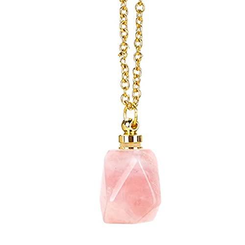 Collar de Piedra Natural, Collar de Botella de Perfume, Cristal de Cuarzo Natural, Piedra Preciosa, Aroma, difusor de Aceite Esencial, Botellas de Perfume, Collar con Colgante para Mujer (Rosa)