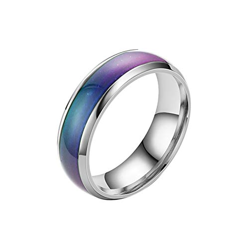 2021 Stainless Steel Temperature Sensative Color Changing Wedding Band Mood Ring for Women Men Silver
