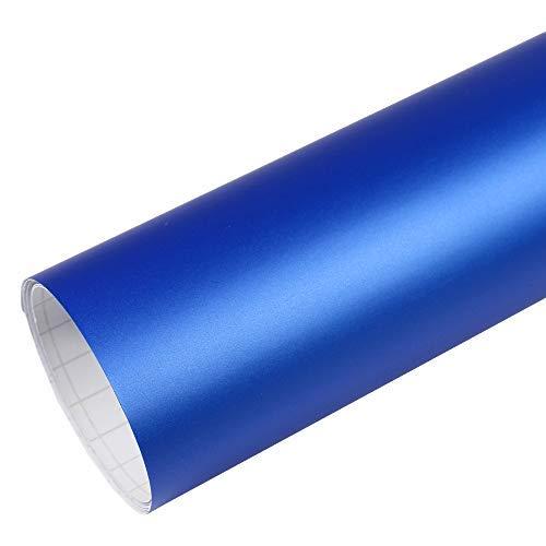Rapid Teck® 5,26€/m² Premium – Matt Blau Metallic 2m x 1,52m Auto Folie Blasenfrei mit Luftkanälen für Auto Folierung und 3D bekleben in Matt Glanz und Carbon Autofolie