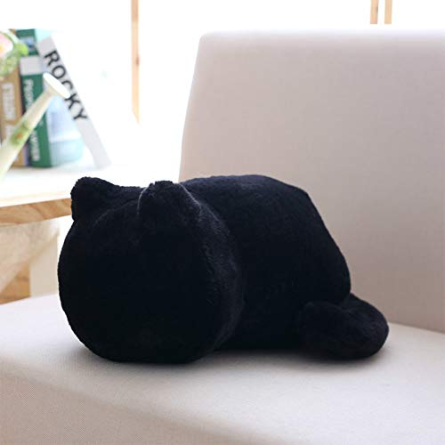 Ocamo 1Pc Cute Cartoon Cat Plush Cushion Pillow Back Shadow Cat Animal Toy Girfriend Gift Home Ornament black 33X24X18CM