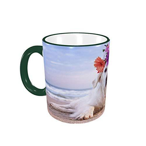 Taza de café Lindo Perro Labrador en la Playa Tazas de café Tazas de cerámica con Asas para Bebidas Calientes - Cappuccino, Latte, Tea, Cocoa, Coffee Gifts 12 oz Green