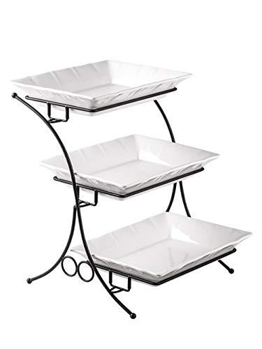 Porzellan Backset mit Ständer Etagere Servierständer 3 Etagen Buffet Server mit Kasserolle Perfektes Tablett zum Servieren Display Große Größe