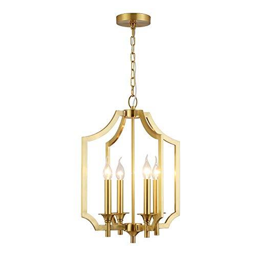 LCSD Lámpara de techo de lujo, de cobre, creativa, para sala de estar, estilo europeo, retro, nórdico, simple, moderno, con personalidad, para billar,...